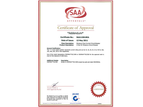 SAA Certificate for DC MCB