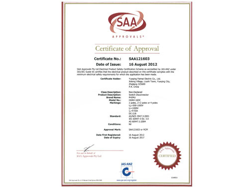 SAA Certificate for DC Isolator Switch